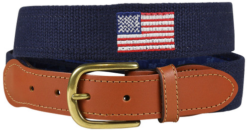 Bermuda Embroidered Belt -  US Flag