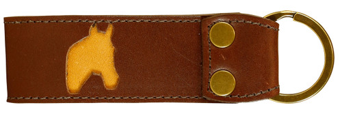 Belted Cow Acadia Leather Horsehead Key Fob