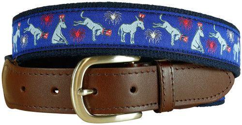 Democrat Donkey Leather Tab Belt