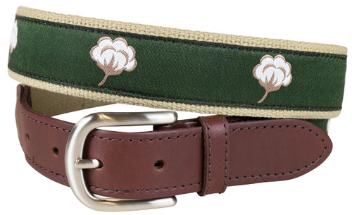 Cotton Flower Leather Tab Belt