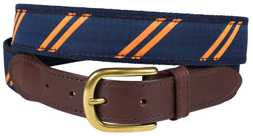 Rep Stripe (navy & orange) leather tab belt