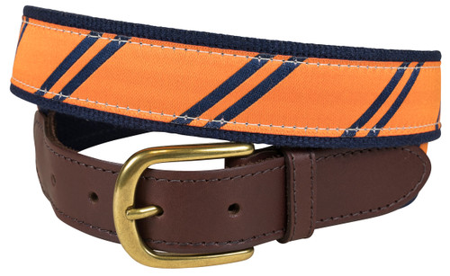 Rep Stripe (orange & navy) leather tab belt