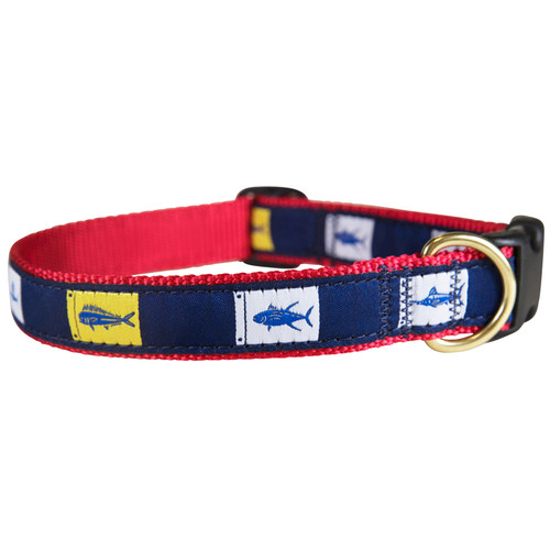 "Fish Flags 1"" Dog Collar"