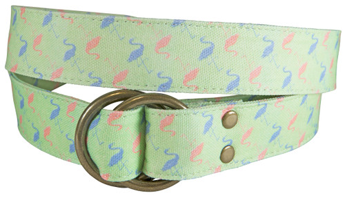 Flamingo Printed Canvas O-Ring Belt