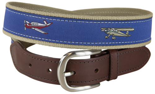 Small Planes Leather Tab Belt