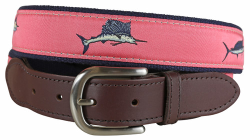 Bill Fish Leather Tab Belt - Coral