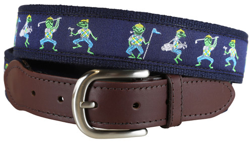 Golfing Frogs Leather Tab Belt