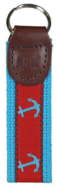 Anchor Key Fob - Red & Turquoise