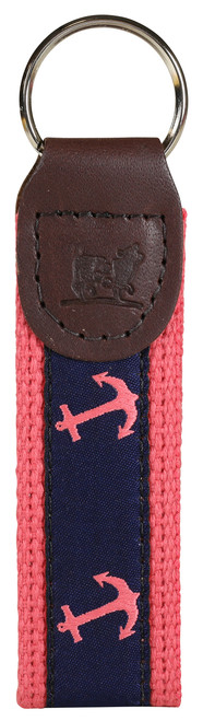 Anchor Key Fob - Navy & Pink