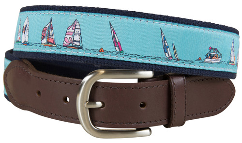 Caribbean Blue Rounding the Mark Leather Tab Belt