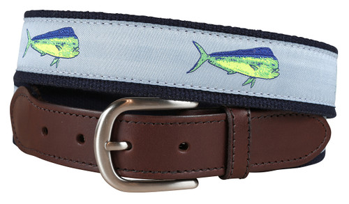 Dolphin Fish Leather Tab Belt