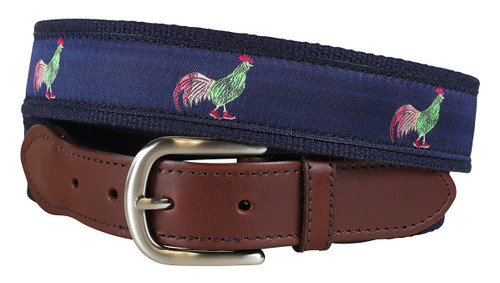 Rooster Leather Tab Belt