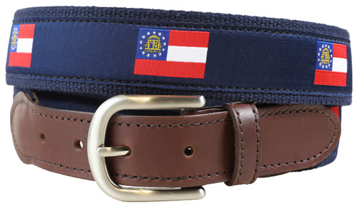 Georgia State Flag Leather Tab Belt