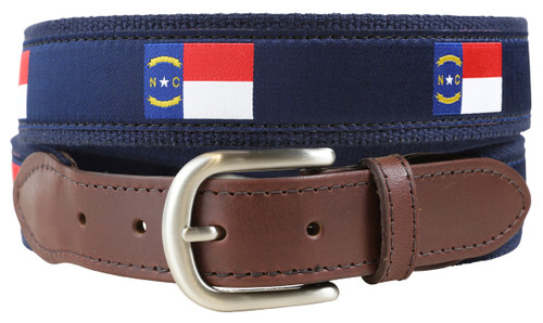 North Carolina State Flag Leather Tab Belt