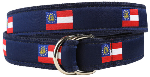 Georgia State Flag D-Ring Belt