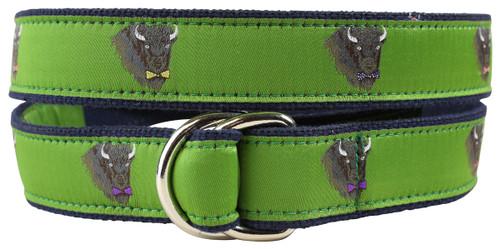 Buffalo in Bow Ties D-Ring Belt