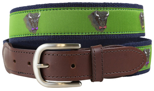 Buffalo in Bow Ties Leather Tab Belt