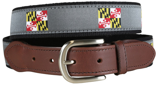 Maryland State Flag Leather Tab Belt