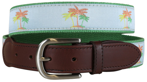 Palm Trees Leather Tab Belt