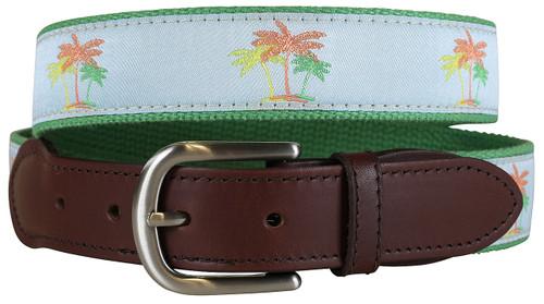 Palm Trees Leather Tab Belt