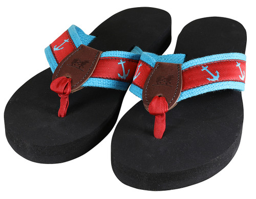 Anchors Flip Flops - Turquoise