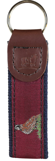 Woodland Birds Key Fob | Burgundy