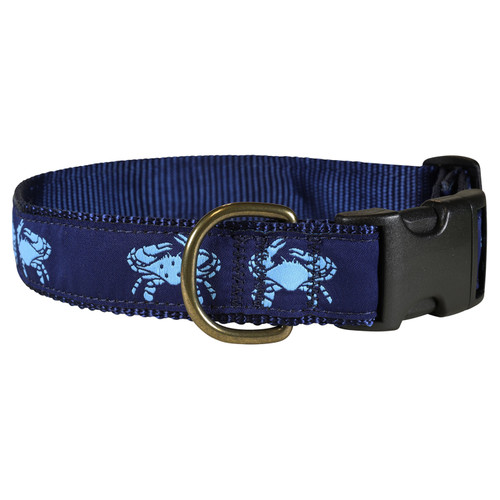Crab Dog Collar - Blue  - 1.25 Inch