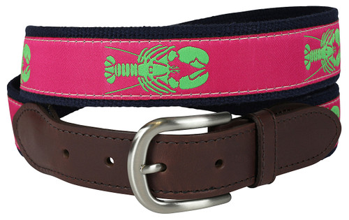 Lobster Leather Tab Belt | Raspberry