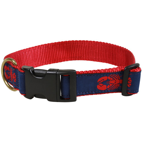 "Navy Lobster 1.25"" Dog Collar"