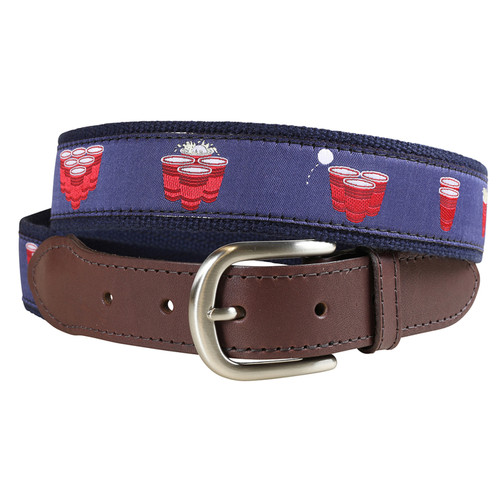 Beer Pong Ribbon Belt  with Leather Tab