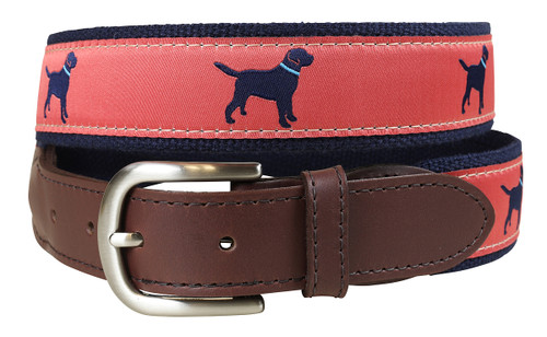 Labrador Retriever Leather Tab Belt - Nantucket