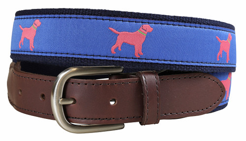 Labrador Retriever Leather Tab Belt - Blue & Coral