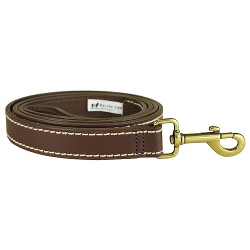 Leather Dog Lead- White Stitching 1 Inch