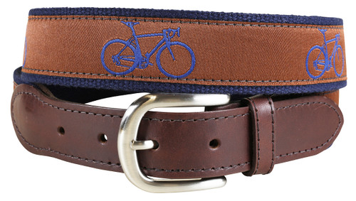 Road Bike Leather Tab Belt - Dark Brown