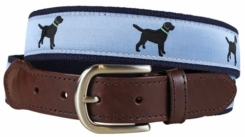 Labrador Retriever Leather Tab Belt - Dusty Blue