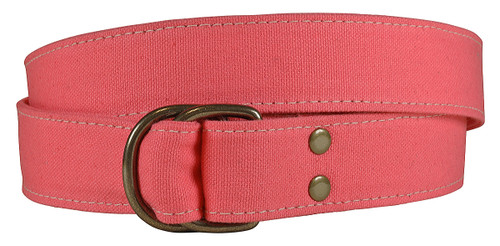 Canvas D-ring Belt - Coral