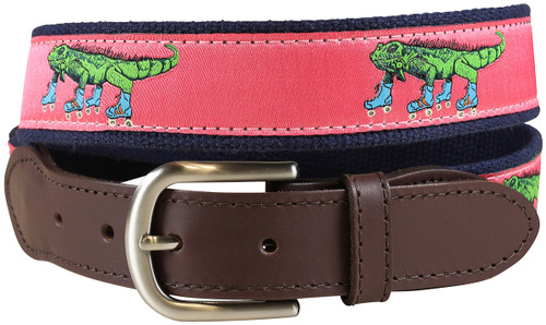 Iguana on Roller Skates Leather Tab Belt