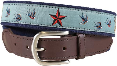Sea Ink Leather Tab Belt