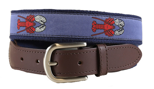 Lobster with Mittens Leather Tab Belt