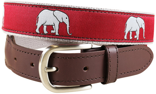 Elephants Leather Tab Belt | Crimson