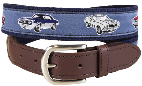 American Muscle Cars Leather Tab Belt