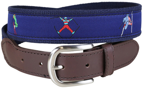 Retro Ski Leather Tab Belt