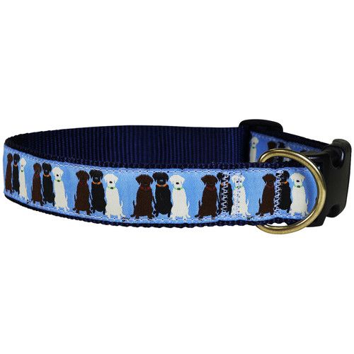 Three Labs Dog Collar - Light Blue - 1.25 Inch