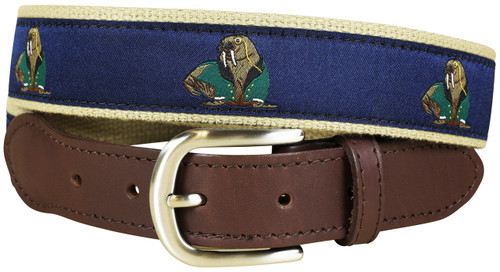 Walrus in Dinner Jacket Leather Tab Belt