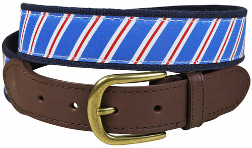 Traditional Repp Stripe Leather Tab Belt | Blue