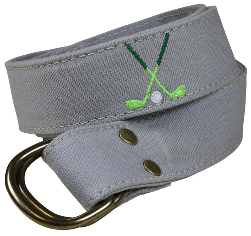 Canvas D-ring Belt - Embroidered Golf