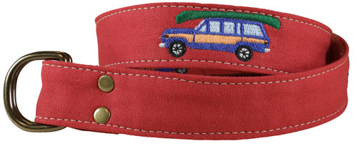 Canvas D-ring Belt - Embroidered Wagoneer