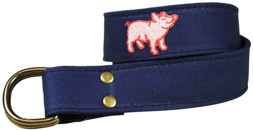 Canvas D-ring Belt - Embroidered Pig