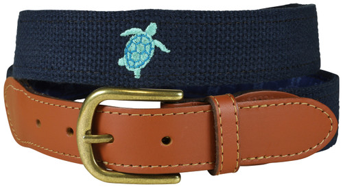 Bermuda Embroidered Belt - Sea Turtle