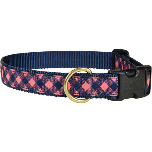 "Pink & Navy Buffalo Plaid 1"" Dog Collar"